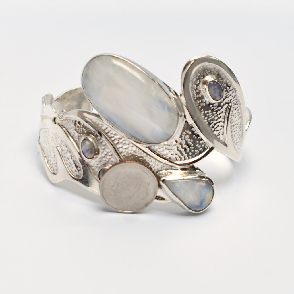 NEW Sterling Silver 925 Lrg Moonstone Gemstone Textured Cuff Bracelet