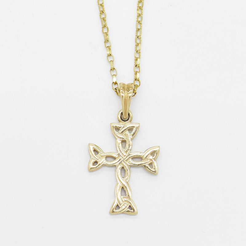 "10k Yellow Gold Estate 18"" Rolo Link Open Work Cross Necklace"