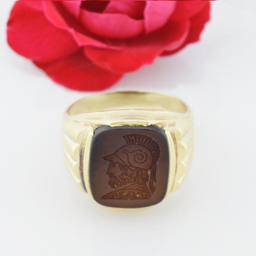 10k Yellow Gold Vintage Intaglio Ring Size 11.75