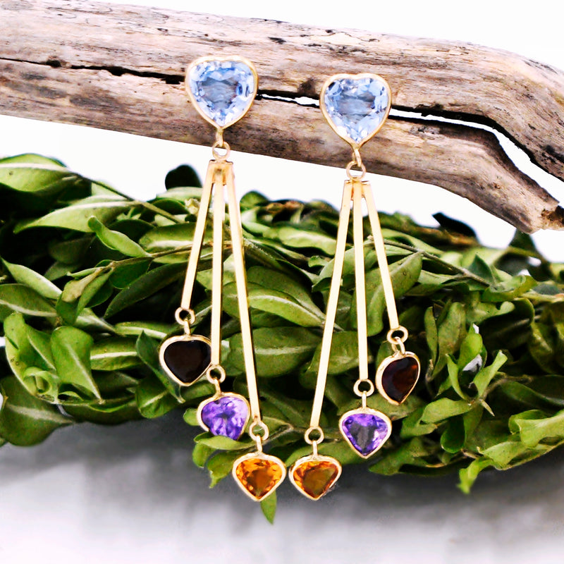 14k YG Heart Shape Topaz Citrine Garnet & Amethyst Dangle/Drop Earring