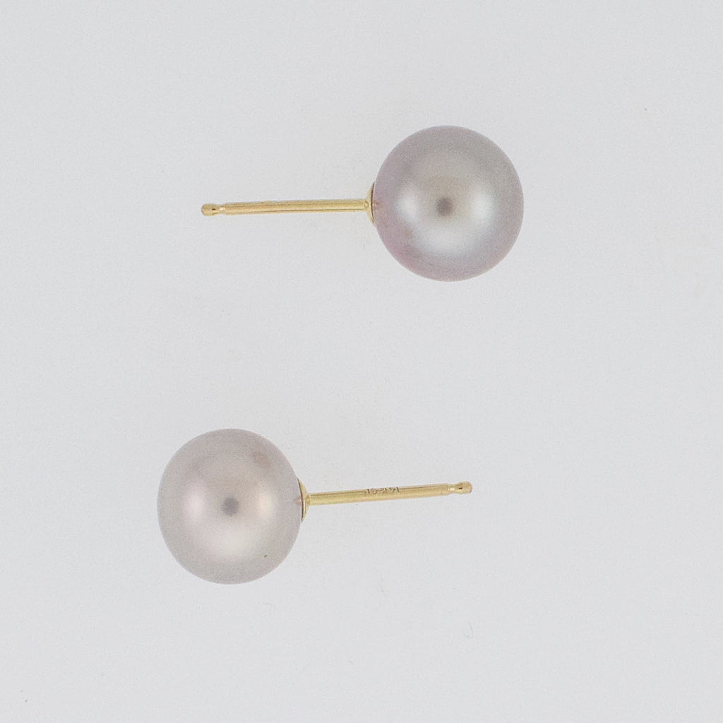 14k Yellow Gold Estate Pearl 7.6 mm Post Earrings