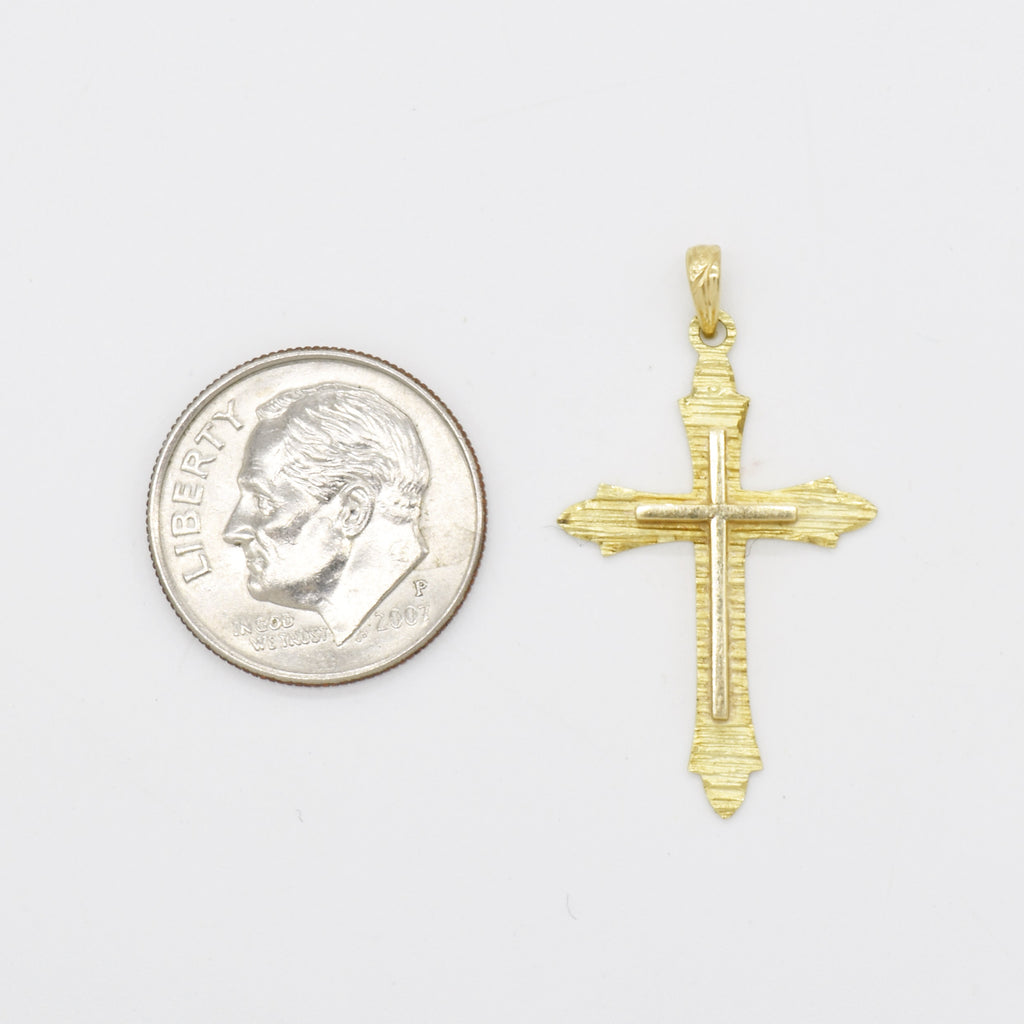 14k Yellow Gold Estate Textured Cross Pendant