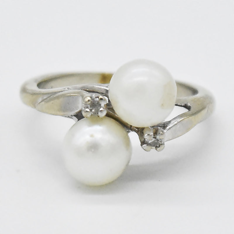 14k White Gold Vintage Double Pearl & Diamond Swirl Ring Size 4