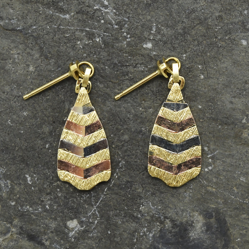 14k Tri-Colored Gold Estate Textured Drop/Dangle Post Earrings