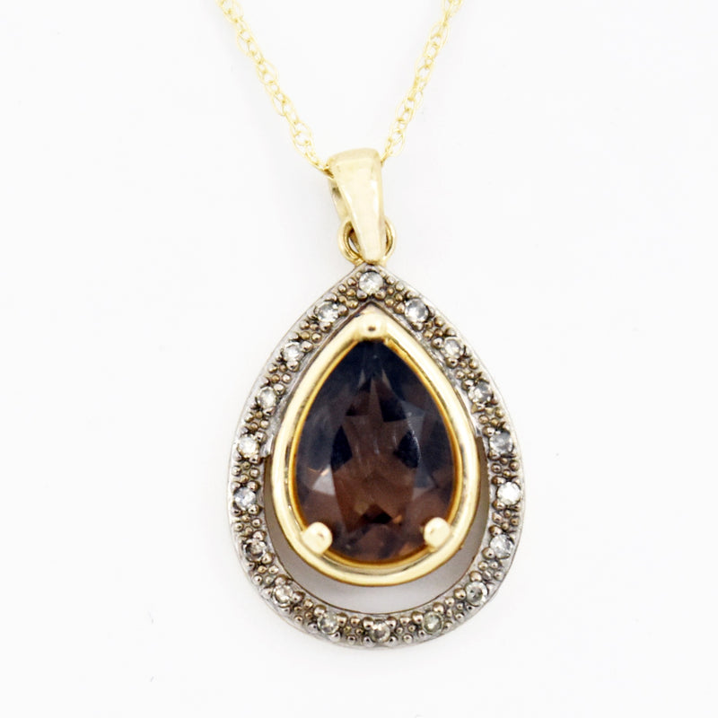 "10k Yellow Gold Estate 18"" Smokey Quartz & Diamond Necklace"
