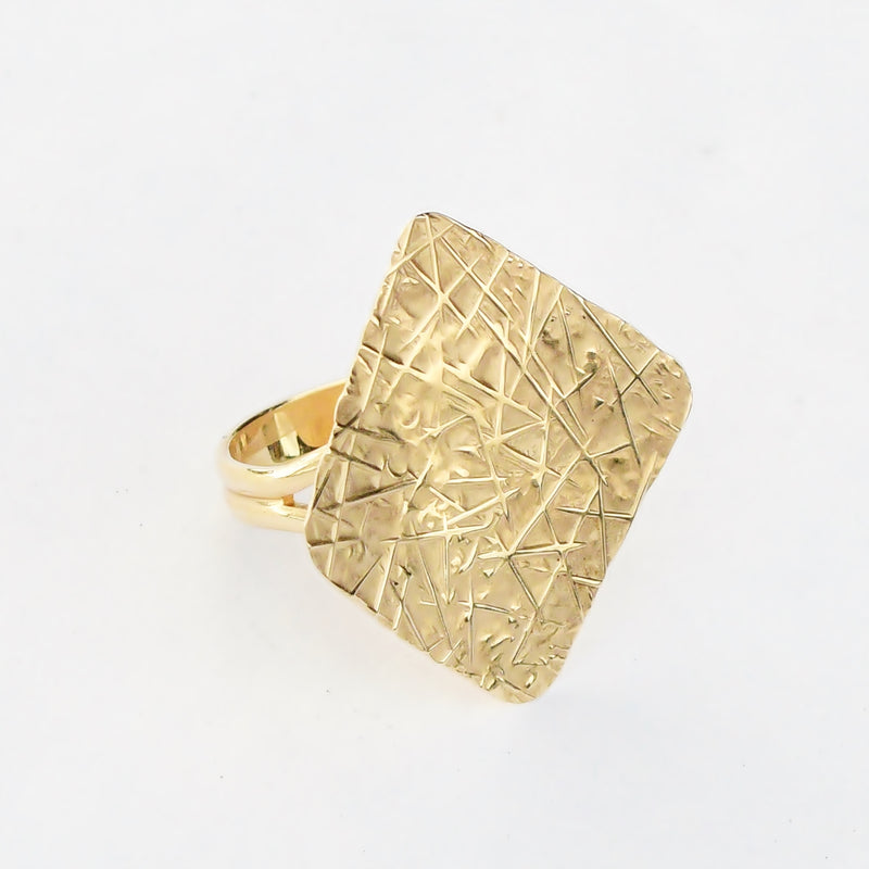 14k Yellow Gold Textured Design Mid Century Modern Style Ring Size 7.5