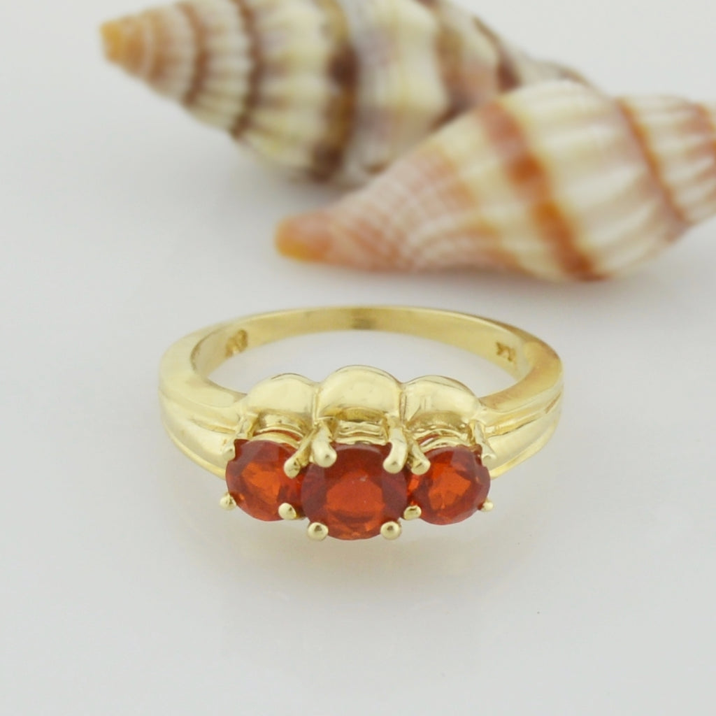 10k Yellow Gold Estate Reddish Orange Three/Tri Gemstone Ring Size 6