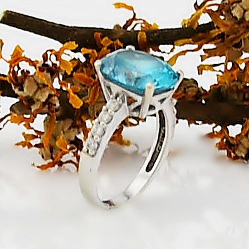 14k White Gold Estate Blue & White CZ Ring Size 6