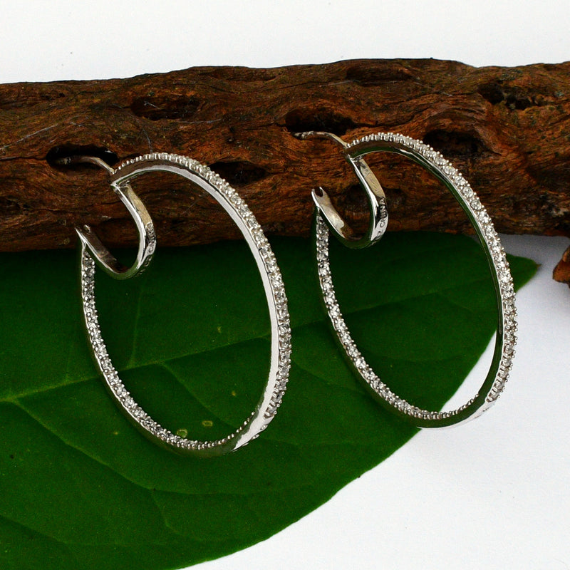 NEW Sterling Silver 925 Dsgnr Epiphany Diamonique Hoop/Hoops Earrings