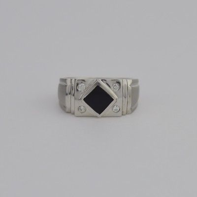14k White Gold Estate Onyx & Diamond Ring Size 10