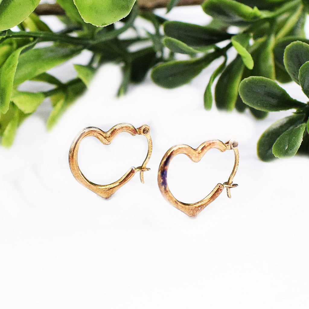 10k Yellow Gold Open Heart Earrings
