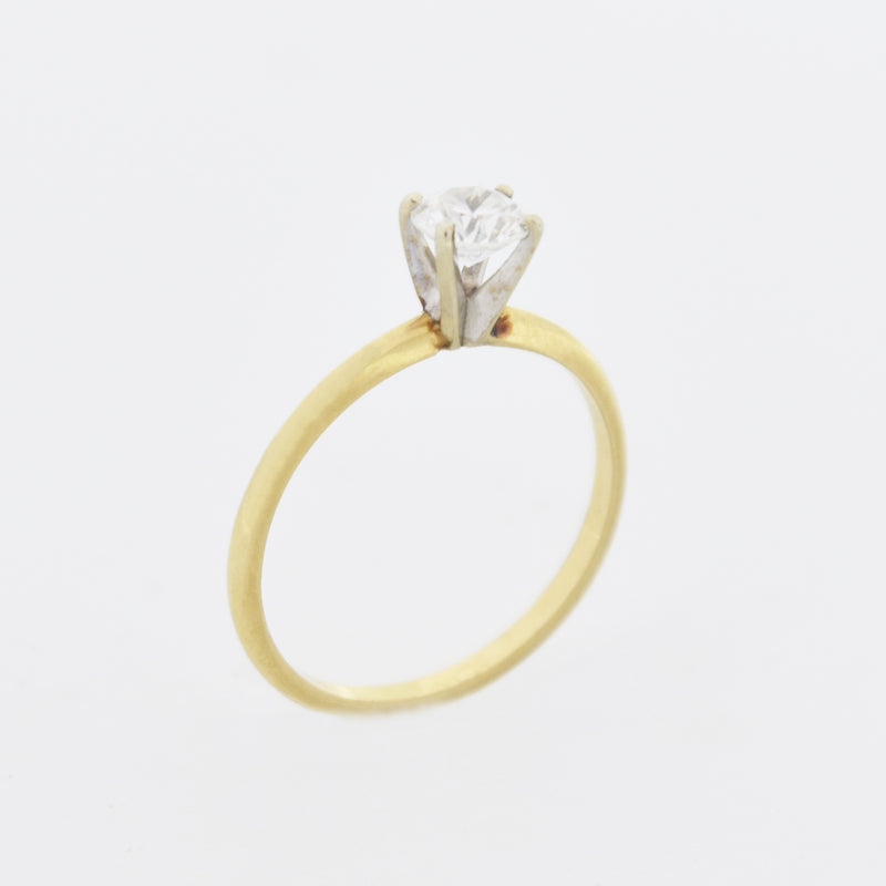 14k Yellow Gold Estate CZ Engagement Solitaire Ring Size 7