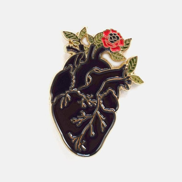 Heart flower pin