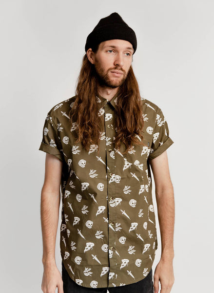 Pizza Slayer button up
