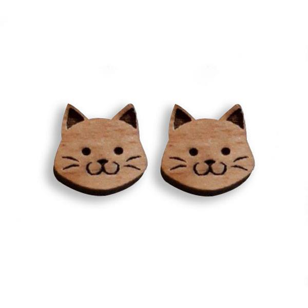Kismet Design Earrings-Wood Cats