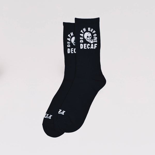 Death before decaf crew Socks