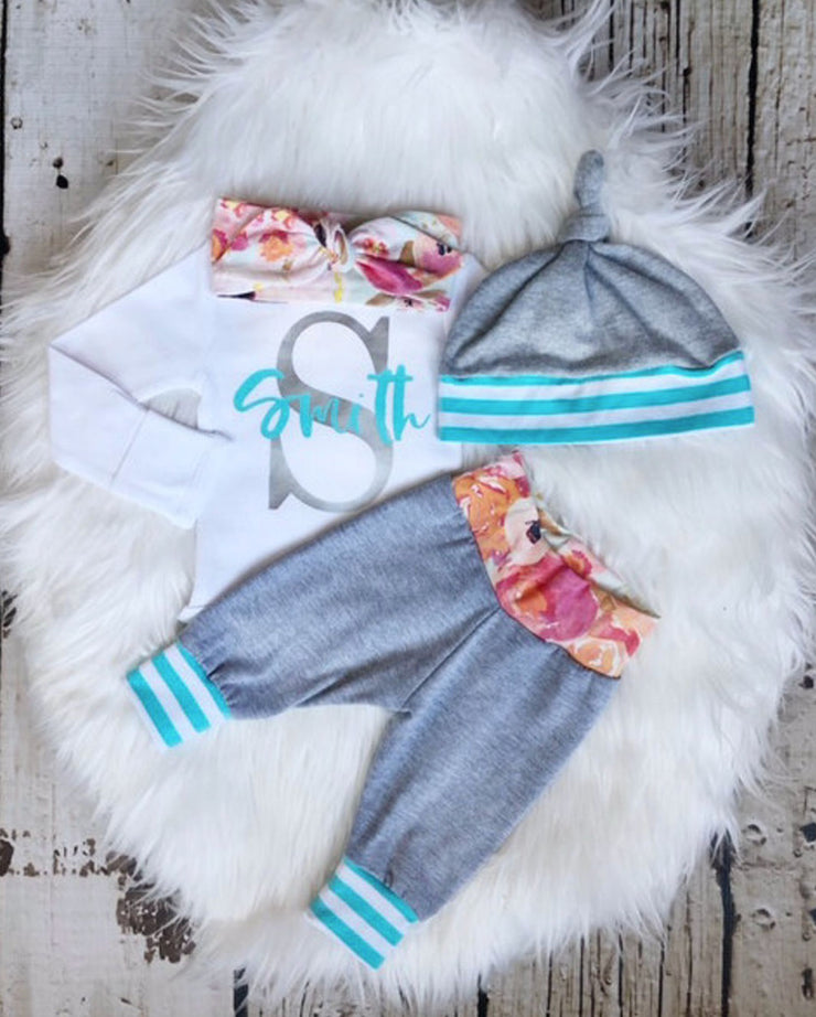 Baby Girl Floral Initial Jogger Set
