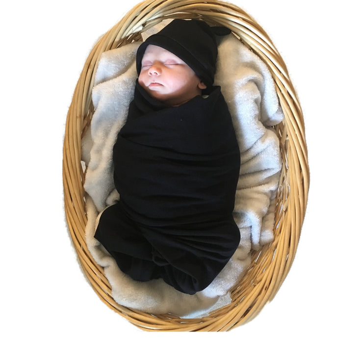 Black Swaddle and Hat Set