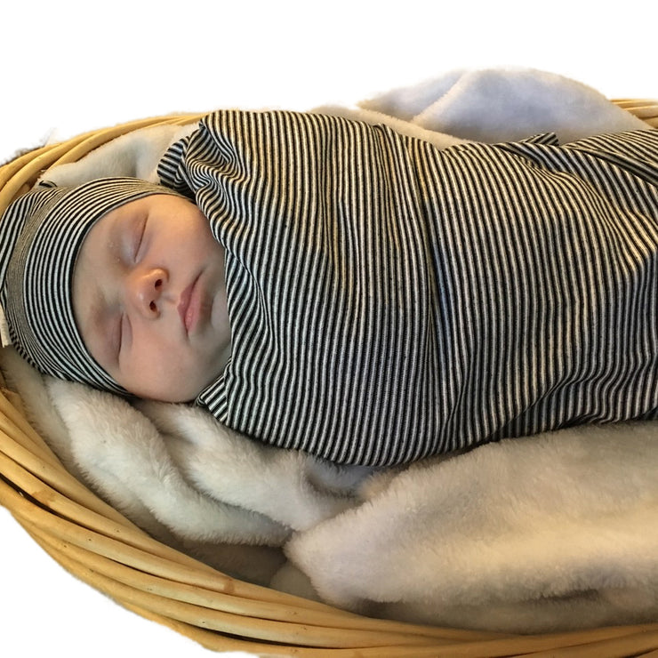Black and White Pinstripe Swaddle and Hat Set
