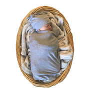 Grey Swaddle and Hat Set