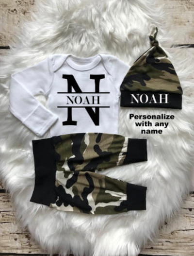 Baby Boy Camo Set with Initial and Name
