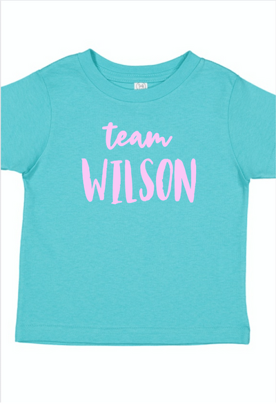 Just Joined Team Sibling Shirt -Aqua and Pink