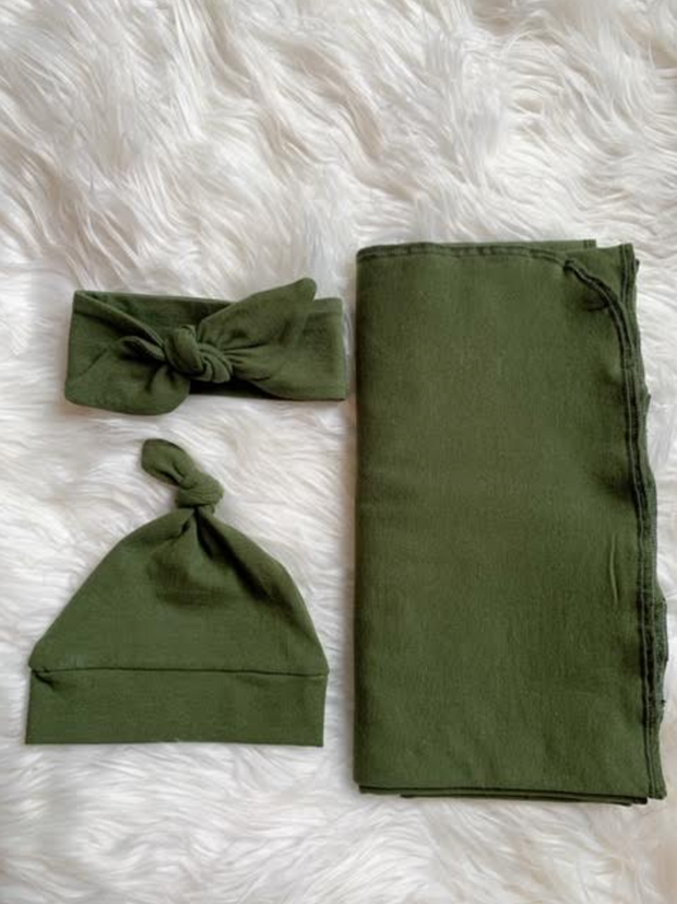 Olive Green Swaddle, Bow and Hat Set-Gender Neutral