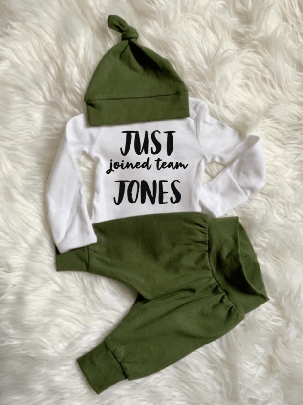 Personalized Just Joined Team Olive Gender Neutral Set