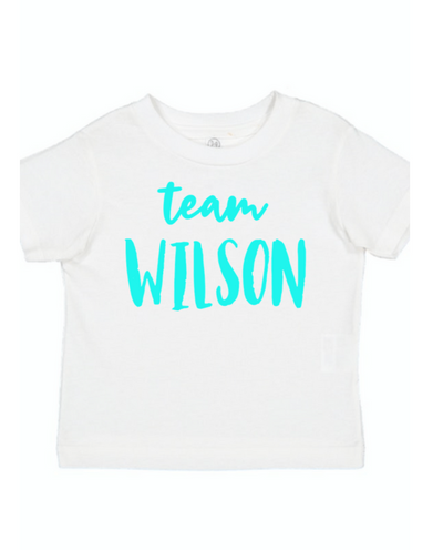 Just Joined Team Sibling Shirt -white and aqua