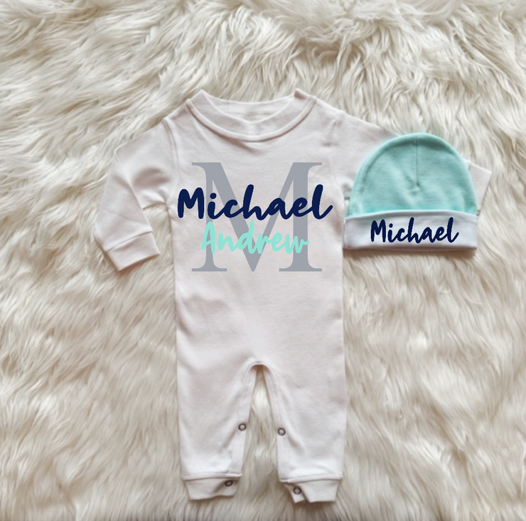 Baby Boy Romper and Hat set-Navy and Mint