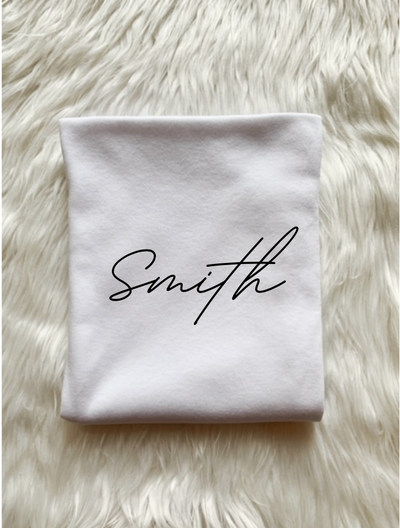 Personalized Last Name Swaddle-White