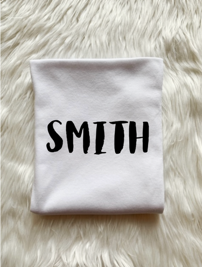 Just Joined Team Collection Personalized Last Name Swaddle-White