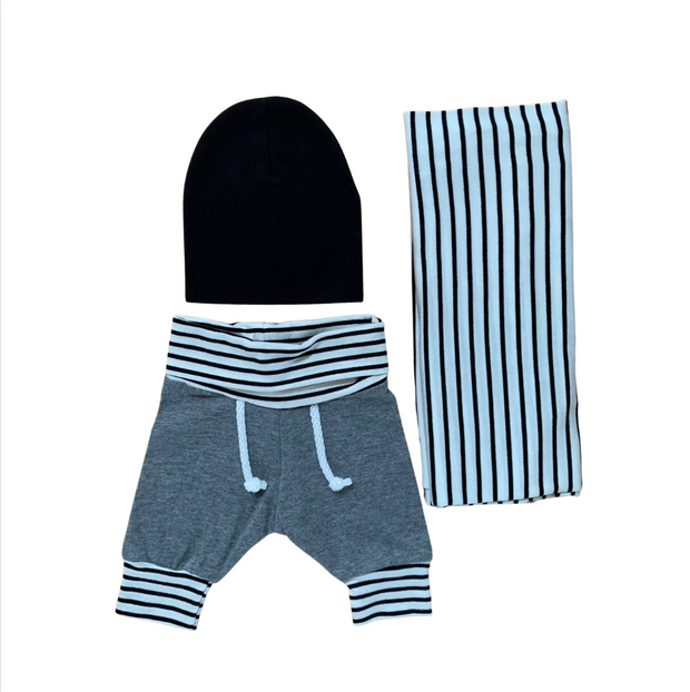 Baby Boy Jogger,Hat and Swaddle Set