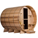 A Clear Western Red Cedar barrel sauna offers excellent quality for the highest price (regular)