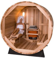 Load image into Gallery viewer, 6 FT Red Cedar / White Pine Scan Barrel Sauna with Porch - 4 Person Back Country Hot Tubs