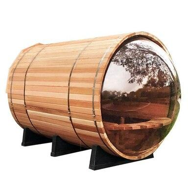 6 FT Red Cedar Panoramic View Barrel Sauna with Porch - 5 Person Back Country Hot Tubs
