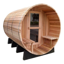 Load image into Gallery viewer, 6 FT Red Cedar Panoramic View Barrel Sauna with Porch - 5 Person Back Country Hot Tubs