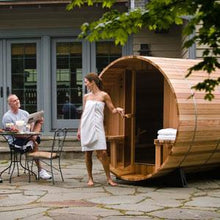 Load image into Gallery viewer, 6 FT Red Cedar Panoramic View Barrel Sauna with Porch - 4-5 Person - Backcountry Recreation