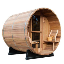 Load image into Gallery viewer, 8 FT Clear Red Cedar Barrel Sauna with Porch - 6 Person Backcountry Recreation