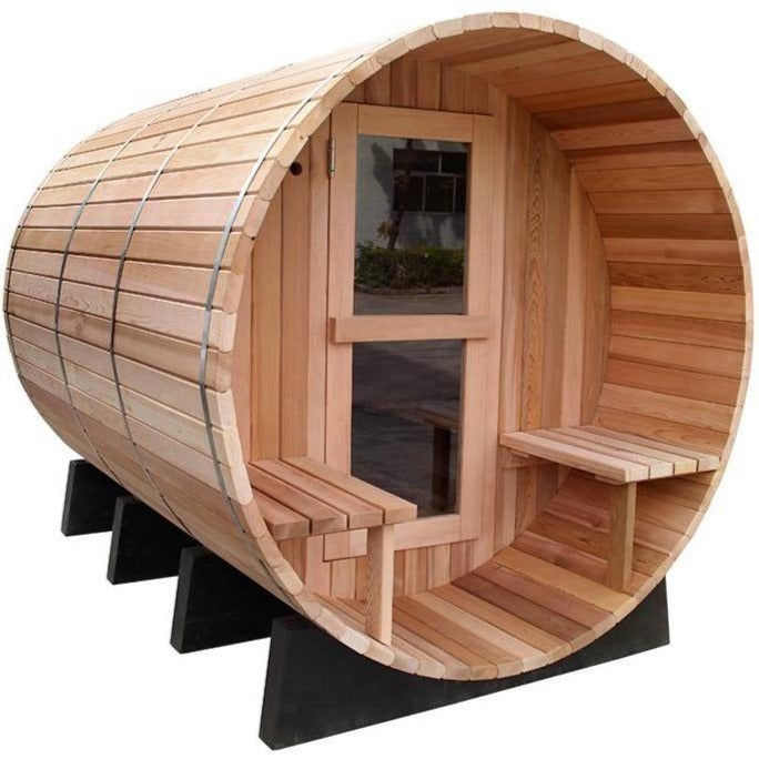 8 FT Red Cedar / White Pine Scan Barrel Sauna with Porch - 6 Person Back Country Hot Tubs