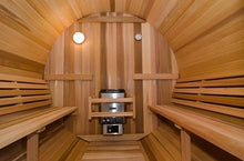 Load image into Gallery viewer, 8 FT Red Cedar Barrel Sauna with Porch - 6 Person Back Country Hot Tubs