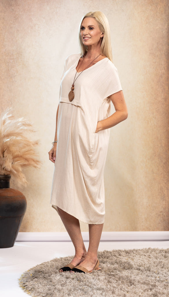 Linen Waterfall Dress in Sand