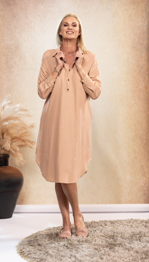 Linen Shirt Dress in Dusk