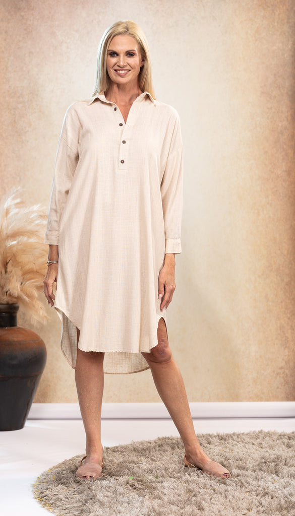 Linen Shirt Dress in Sand
