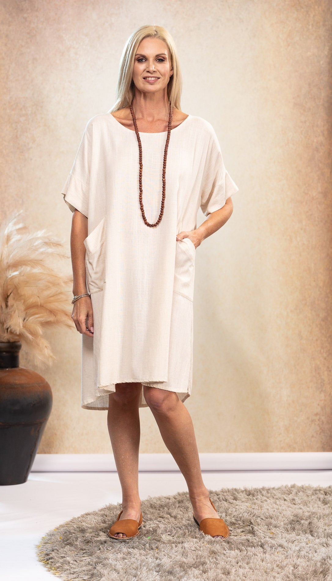 The Shift Linen Dress in Sand