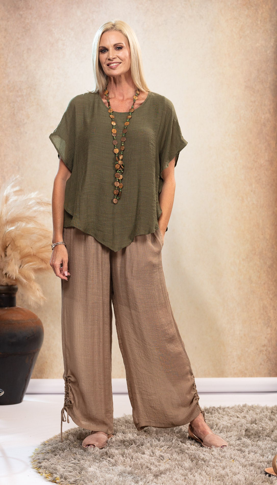Long Bamboo Pants. Beige Latte colour. Olive Khaki Green Bamboo Top. Natural colour sandals. Nude Avarca sandals.