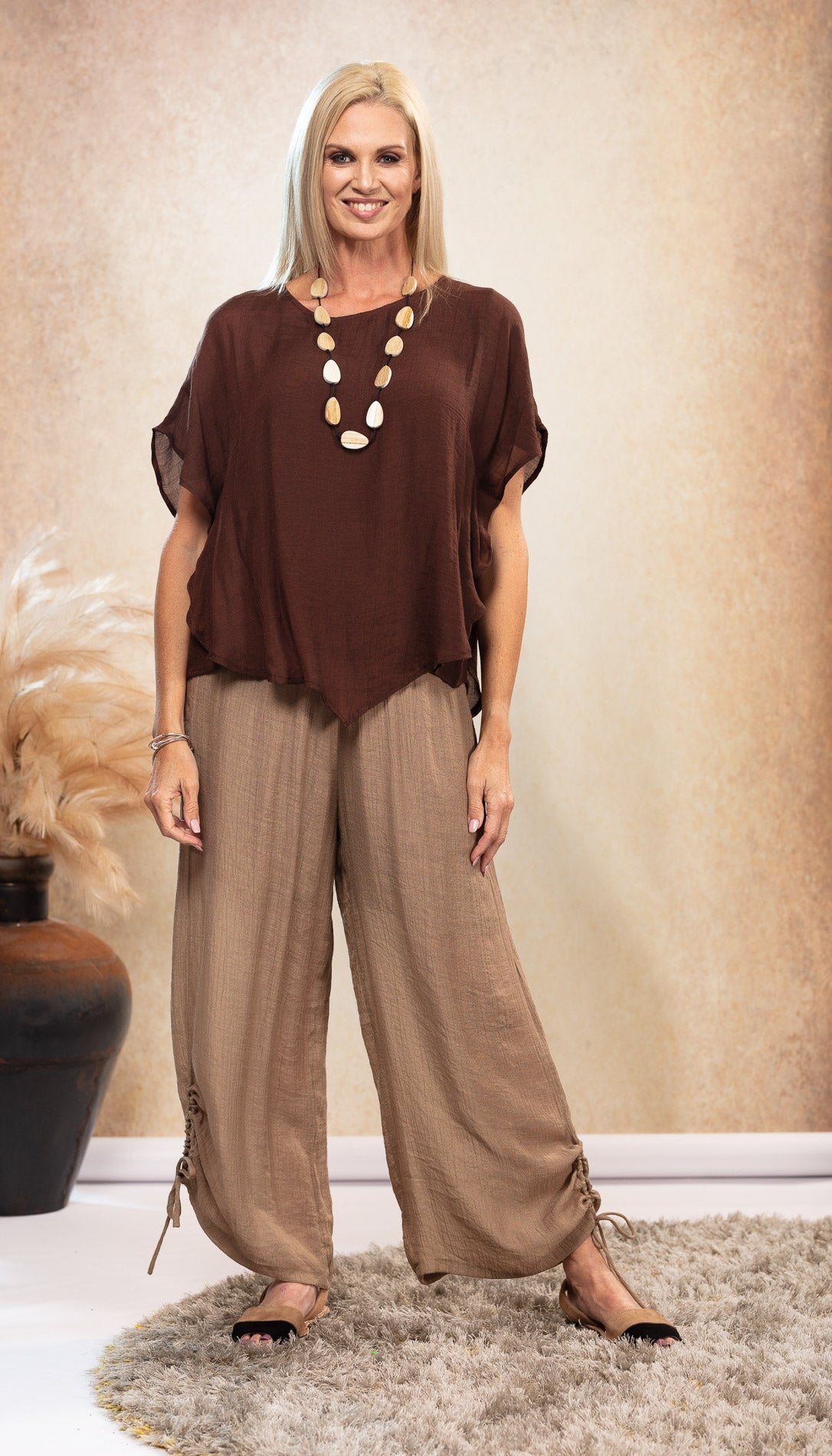 Long Bamboo Pants. Beige Latte colour. Natural colour sandals. Bamboo Chocolate Top. Nude Avarca sandals.