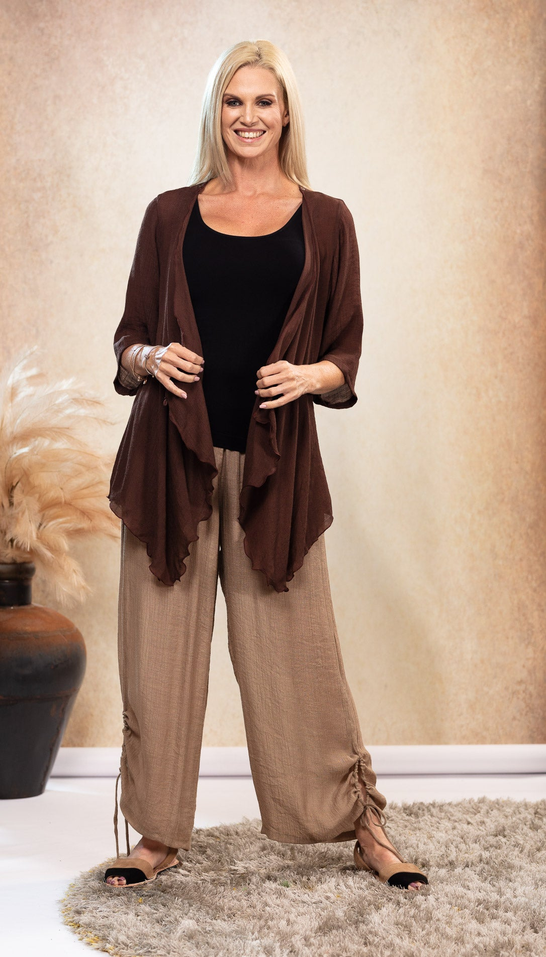 Organic Bamboo Tank Top Black with bamboo Latte beige pants and bamboo Chocolate Jacket