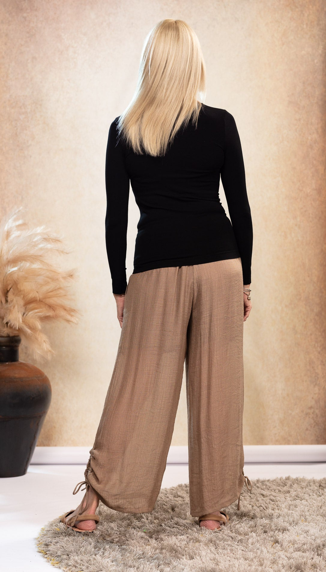 Long Bamboo Pants. Beige Latte colour. Organic Bamboo long sleeve Top. Black and Tan colour sandals. Suede Avarca sandals.