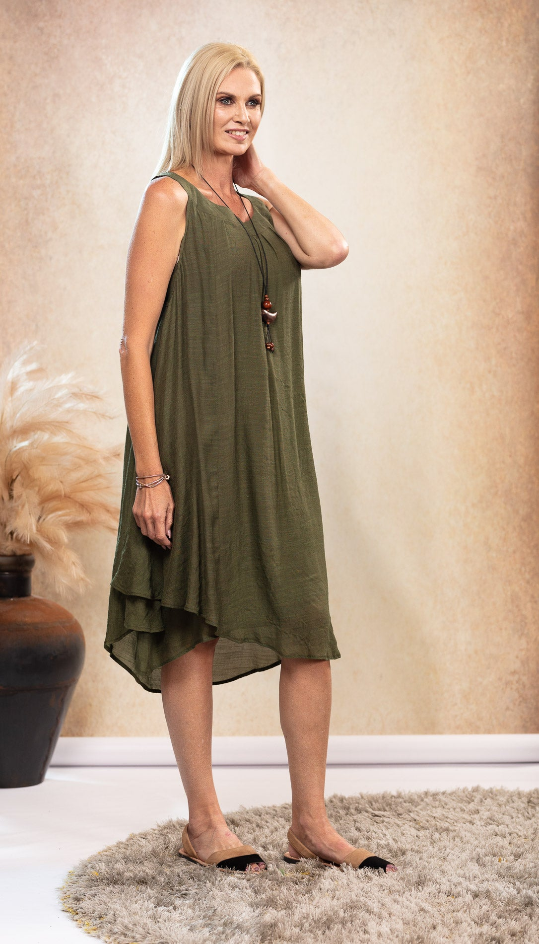 Bamboo Dress in Olive Khaki Green. Black and Taupe Avarca Sandals.